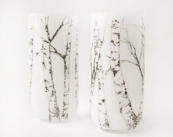 Anniversary Gift for Husband, Birthday Gift for Him, Tall Votive Lights, White Glass Tumblers Set - Aspen Trees