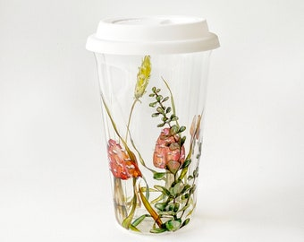 Eco-friendly Double Wall Glass Travel Mug, Drinkware for cold and hot drinks: Coffee, Tea, Beer   Shrooms and Grass - Botanical Collection