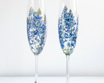 Custom & Personalized Champagne Glasses with Any Botanical Design, Set of 2