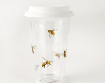 Hand Painted Bee on glass travel tumbler, drinkware on the go, friendly mug, for hot and cold drinks,  Double Wall Travel Mug   Bees Design