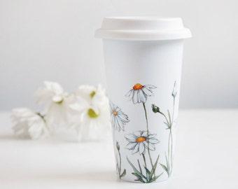 Hand Painted White Ceramic Travel Mug - Daisies, Botanical Collection