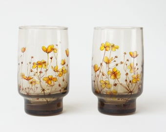Grey Glass Tumblers, Set of 2  - Buttercups, Botanical Collection