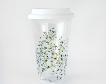 Double wall Glass Travel Mug   Baby's Breath Flowers - Botanical Collection