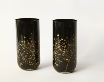 Anniversary Gift, Birthday Gift for Her, Black floral vase, Black Glass Tumblers Set - Gold Baby's Breath