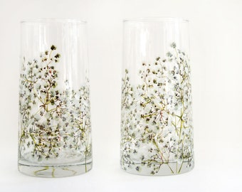 Glass Tumblers, Set of 2   Baby's Breath Collection