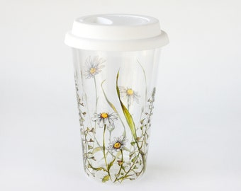 Glass Travel Mug   Shepherd's Purse and Daisies - Botanical Collection   Ready to Ship