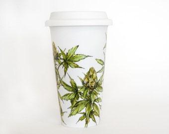 White Ceramic Travel Mug  - Cannabis Plant   Botanical Collection