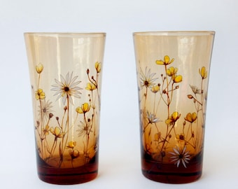 Amber Glass Tumblers, Set of 2  - Buttercups and Daisies, Botanical Collection