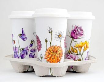 Custom Botanical Painting on White Ceramic Eco Friendly Travel Mug