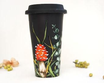 Coffee Mug, Tea Cup, Black Ceramic, Travel Mug   Shrooms and Grass Collection
