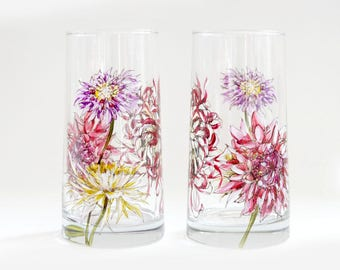 Glass Tumblers, Set of 2  - Chrysanthemum Collection