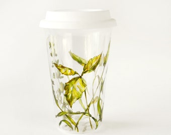 Hand Painted Glass Travel Mug for Coffee and Tea. Ideal for Cold Drinks, Drinkware   Grass Fields - Botanical Collection   Ready to Ship