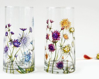 Glass Tumblers, Set of 2  - Astrantia Flowers | Botanical Collection