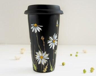 Hand Painted Black CeramicTravel Mug - White & Gold Daisies - Botanical Collection