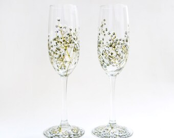 Glass Champagne Flutes, Set of 2   Baby's Breath Collection