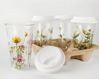 Custom Botanical Painting on Glass Eco Friendly Travel Mug