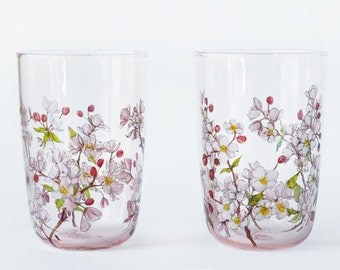 Rose Tinted Tumblers, Set of 2  - Apple Blossoms Collection