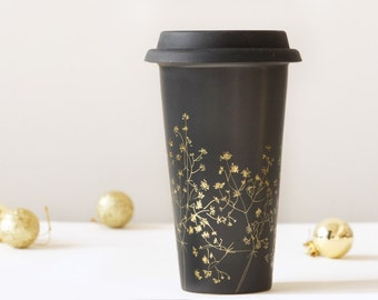 Gold and Black Ceramic Eco-Friendly Travel Mug   Baby's Breath Collection
