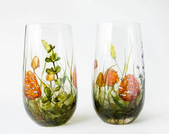 Glass Tumblers, Green, Set of 2  - Mushrooms and Grass   Botanical Collection