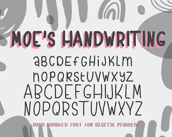 Handwritten Font, Digital Planning Fonts, Digital Planner, Dingbat Font, Digital Planning, Doodle Font, Digital Hand Lettering, Note Taking