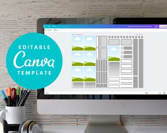 """Canva Sticker Template, Printable Sticker Kit, Standard Vertical 1.5"""", Cricut Ready, Black Out for Silhouette w/ Instructions"""