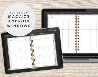 Digital Planner iPad, Goodnotes, Xodo, Windows, Android, Undated, Digital Planning Notebook, Long Vertical, Happy Planner Digital Planner