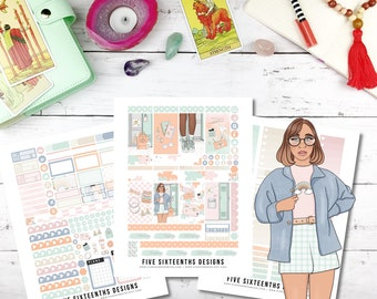 Aesthetic School Daze Deluxe Printable Weekly Planner Kit - Long Vertical 1.5 inch Cricut Ready and Silhouette Trace File included