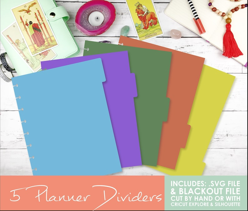 DIY Happy Planner Dividers - Classic Size, 5 Count- Cut File for Cricut &  Silhouette Included! Planner Stickers