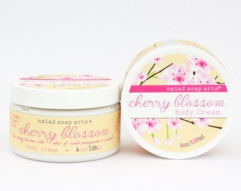 Cherry Blossom Shea Butter Body Cream - anti-oxidant rich - Vegan and Cruelty Free - 95% natural