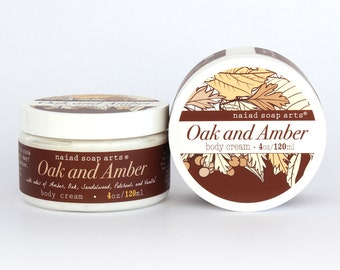 Oak and Amber Shea Butter Body Cream - Vegan - anti-oxidant rich - 4oz jar