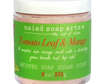 Tomato Leaf & Mango Whipped Soap Sugar Scrub - Cruelty Free and Vegan