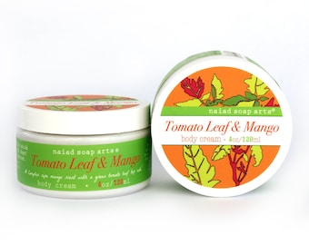 Tomato Leaf & Mango Shea Butter Body Cream - Vegan and Cruelty Free - 95% natural