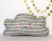 Cloud Pillow, Cloud Cushion - Great for Kids Rooms, Heirloom Toy, Cotton and Steel, Gray Nursery, Neutral Nursery