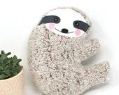 Fluffy Plush Sloth, Sloth Stuffie, Sloth Plushie, Sloth Pillow