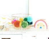 Rainbow Pom Pom Storage Basket, Wire Basket, Boho Home Decor