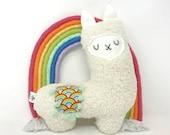 Rainbow Stuffed Llama, Llama Stuffie, Plush Llama, Llama Toy, Gender Neutral Baby Gift