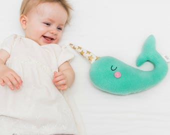 Narwhal Baby Toy, New Baby Gift, Nautical Toy, Narwhal Softie for Kids, Ocean Nursery, Aqua Nursery, Heirloom Toy