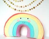 Pastel Rainbow Pillow, Rainbow Baby, Nursery Decor, Kawaii Rainbow, Rainbow Stuffie