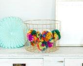 Pom Pom Storage Basket, Wire Basket, Boho Home Decor
