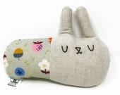 Plush Bunny Toy, Natural Toy, Stuffed Rabbit, Easter Basket Stuffer