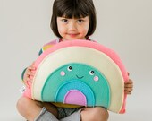 Pastel Rainbow Pillow, Kids Pillow, Nursery Decor, Rainbow Softie, Plush Rainbow, Photo Prop