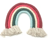 Rainbow Wall Hanging, Yarn Rainbow, Textile Wall Hanging, Fiber Rainbow, Muted Colors, Nursery Art