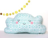 Cloud Pillow, Cloud Cushion, Blue and White Geometric Print - Great for Kids Rooms, Heirloom Baby Gift
