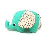 Baby Girl Gift, Strawberry Print, Stuffed Elephant, Elephant Softie, Handmade Stuffed Toy - Plush Elephant Toy