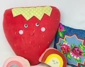 Giant Strawberry Pillow - Kawaii Plush, Kids Pillow, Kids Room Decor