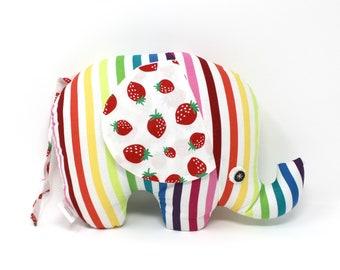Rainbow Stuffed Elephant, Elephant Softie, Elephant Stuffie, Baby Girl Gift, Elephant Plush