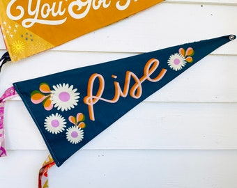 Rise Pennant Wall Hanging, Motivation, Office Decor