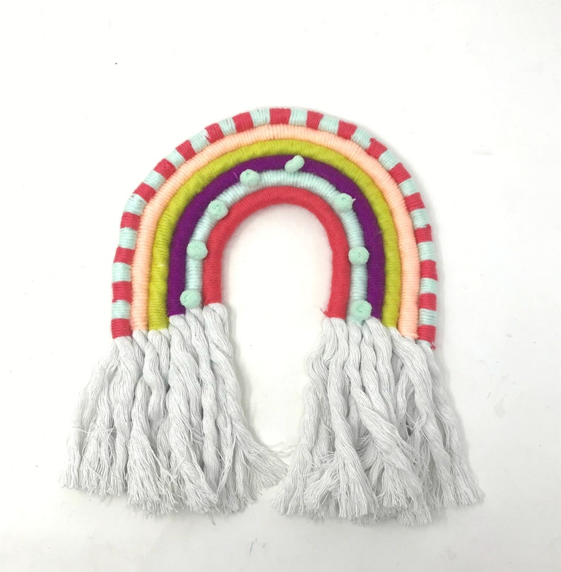 Yarn Rainbow Wall Hanging Rainbow Wall Decor Textile Wall image 0