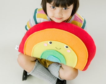 Plush Rainbow Pillow - for Nursery or Kids Room Decor - Kawaii Plush Softie
