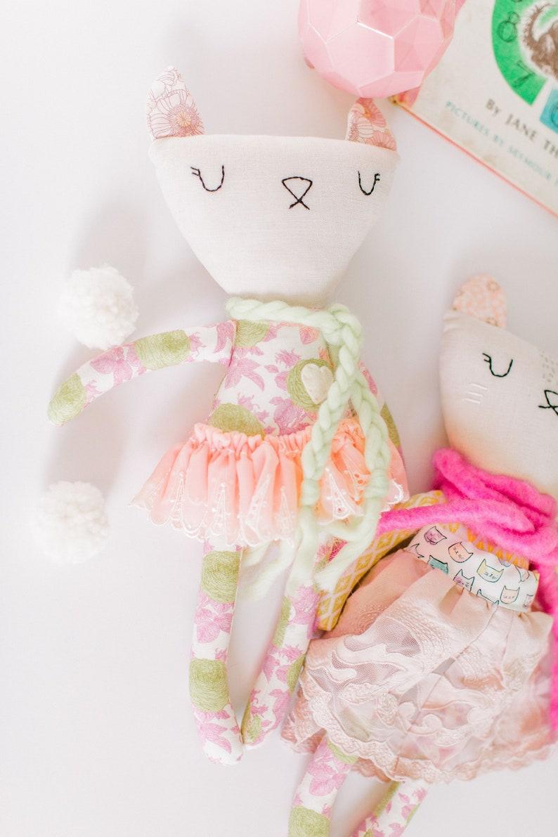 Cat Doll Heirloom Doll High Fashion Doll Rag Doll Cloth image 0